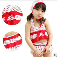 Girl Two-piece 3-7T new children swimwear girls sunscreen fabrics suit red and white baby two-piece bathing suit
