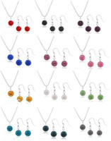 Wholesale New Disco Shamballa Clay Beads Necklace Earring Jewelry Set Sets Mix Color