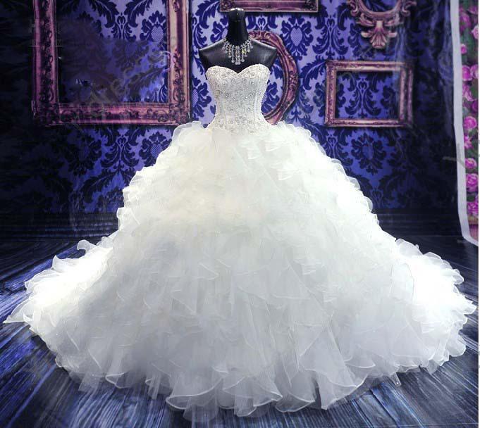 Luxury Royal Puffy White Pearl Catherdarl Train Pleated Wedding ...