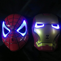 Wholesale GLOW In The Dark LED Iron Man Spider Man Mask Halloween Costume Theater Prop Novelty Make Up Toy Kids Boys Favorite Worldwide