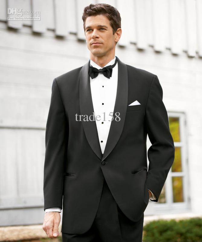 2017 Custom Made Black Groom Tuxedos Wedding Suits Men Prom ...