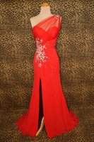 Wholesale Western style one shoulder long bright red evening dresses bight red one shoulder sexy graduation dresses with split one shoulder party gown