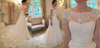 Wholesale Sheer Neck A line Wedding Dresses Covered Button Back Sweep Train With Sash Church Bridal Gowns AH416