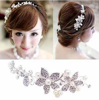 Wholesale 2013 fashion High quality Crystal pearl headwear Stunning wedding bridal Semi precious stone flower butterfly hair accessory t5106