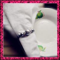 Wholesale Gray Pearls Napkin Rings Wedding