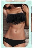Women Bikinis Fringe Wholesale - 2013 Hot Newest SEXY Woman Bikini Sets Fringe Swimwear Tassels Padded Girl Lady Swimming Swimsuit