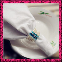 Wholesale Pearls amp crystal Fashion Napkin Rings Wedding