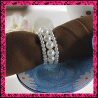 imitation pearl ECO Friendly  50pcs lot Free Shipping Pearls Napkin Rings Wedding party wholesale