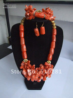 coral coral necklace - Free ship Beauty wedding coral jewelry set strand strand drum and leaf bead coral necklace bracele
