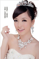 Wholesale 2013 Ceremony Rhinestone Tiara Necklace Earring Set Bridal Wedding Party Jewelry Wedding Accessories