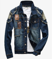Wholesale New Mens Jeans Wear Denim Adult Jeans Jacket Denim Jean Jacket Coat Size M XXL