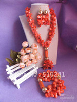 Women's coral coral necklace - Pink Single Strand Coral Leaf Bead Flower Necklace Bracelet And Earring Set African Design Wedding B
