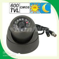 al por mayor líneas de tv cctv-Venta caliente! Líneas de la cúpula diseño 600 TV 1/3 CMOS CCD impermeable cámara CCTV soporte noche visión libre Shi