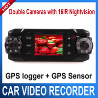 Car Monitors & Cameras UTK-X800C  X8000 Car DVR Video Recorder with GPS logger and G-Sensor Double Cameras wide angle Dual Lens Car Camera Recorder