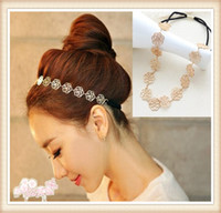 Wholesale Fashion New Lovely Metallic Lady Hollow Rose Flower Elastic Hair Accessories Hair Band Headband
