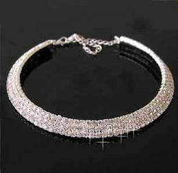 venta caliente de la moda Nupcial de joyería de las mujeres de cristal gargantilla 3 filas de boda gargantilla collar vestido de damas de accesorios t5109