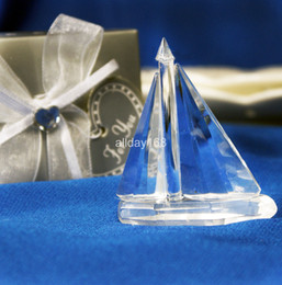 Wholesale Unique Wedding Favors wedding decoration of crystal gift of crystal sailing boat Decoration