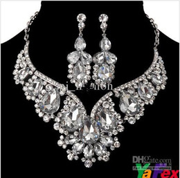 Wholesale 2013 Ceremony Crystal Rhinestone Wedding Bridal Party Tear Drop Earring Necklace Jewelry Set WA119