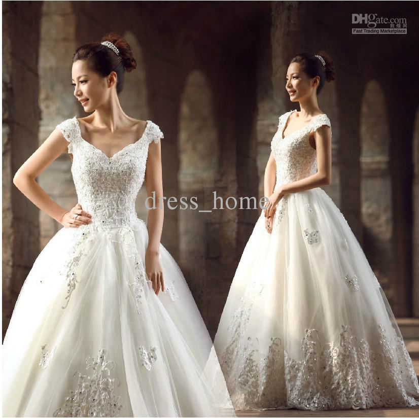 2013 Ball Gown Cap Sleeve White Organza Sweep Train Lace Beads ...