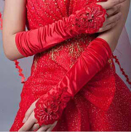 Wholesale Women Performances performing choir wedding photo studio bride wedding marriage red white black lace fingerless gloves t5112