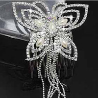 Wholesale Hot sale fashion delicate butterfly style rhinestone bridal jewelry women pearl hair accessories ladies white tassels hair combs t5117