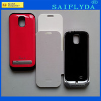 Wholesale flip leather external baattery Charger battery case Backup battery Cases for Samsung Galaxy S4 I9500