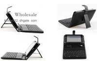 Wholesale IN STOCK Folding Leather Case with Stand Skin USB Keyboard Cover for inch Apad Epad Flytouch Laptop Tablet PC MID Android