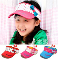 Wholesale Korea girls summer lovely dot bowknot empty top hats kids fashion sunbonnet children Visor cap jlbgmy