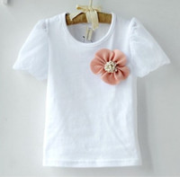 Wholesale HOT SALE Baby girl summer round neck white cotton tshirts D flower T shirt Kids girls ruffle lace rosette brooch years child