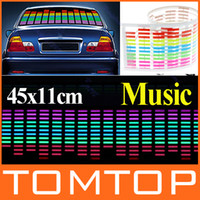 Wholesale 45x11cm Sound Music Activated EL Sheet Car Sticker Sound Activated Equalizer Glow Flash Panel Light car Accessories K821