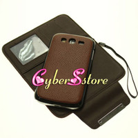 Wholesale 50pcs Flip Wallet Credit Card Slots Photoframe Leather Case Back Cover Split in For Samsung Galaxy Grand Duos i9080 i9082 Multi fonction