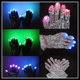 Wholesale LED Sequins Gloves Dancing Performance Hip Hop Showing Party supplies LED Flashing Gloves Popular for selling dropship high quality best