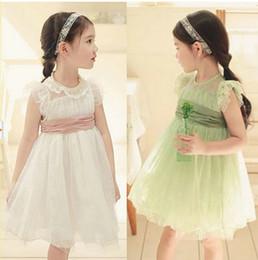 Wholesale Summer Children dresses new style Korean pure cotton dream lace girls princess skirt Kids dress colour size
