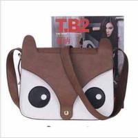 Wholesale Ladies PU shoulder messenger cross bags women punk cartoon cute owl handbag girls beach soft korean lovely fashionable bags t5126