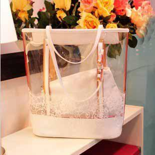 Female Summer PVC Transparent Tote Womens Beach Bags Fluorescent ...