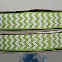 chevron fabric - 22mm apple green chevron grosgrain ribbon Fabrics and Sewing Tools7 quot printed ribbon yds Polyester Arts Crafts amp Gifts