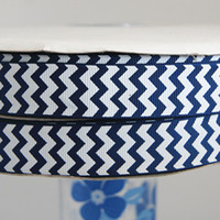 Wholesale 22mm navy chevron grosgrain ribbon quot printed ribbon yds Polyester Arts Crafts amp Gifts Fabrics and Sewing Tools