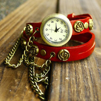 Wholesale Women Ladies Vintage Punk Style brass Rose Wrap Around genuine leather brass chain Bracelet Wrist Watch