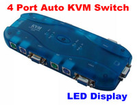 Wholesale New Portable LED Port Auto KVM Video VGA SVGA Switch Box Monitor
