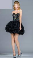 Reference Images Sweetheart Organza Black Transparent Corset Beaded Graduation Dress 2013 Organza Mini Ruffled Ball Gown Customized 061