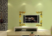 Wholesale Romantic wall stickers corner flower mirror wall stickers tv wall sofa wall