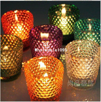 Wholesale candle holder tea light glass cup flat with round point home decoration gifts for weddings bott