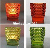 Wholesale FEDEX tea light candle holder glass cup colors for gifs weddings who