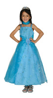 Wholesale Crystal organza two tone sequin embroidered dress with flower beads and scarf Child size brown organza Holiday Dress