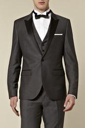 New Style One Button Grey Groom Tuxedos Best Man Peak Satin Lapel Groomsmen Men Wedding Suits Bridegroom (Jacket+Pants+Tie+Vest) H657