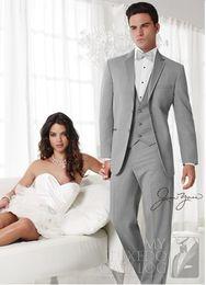 New Style Two Buttons Light Grey Groom Tuxedos Best Man Notch Lapel Groomsmen Men Wedding Suits Bridegroom (Jacket+Pants+Tie+Vest) H658
