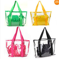 Women plastic tote - Fashion women candy color transparent bag Clear beach bags PU leather bag shopping bag See thru Bag Handbag Tote Purse PVC Plastic colors