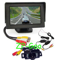 "Car Camera   New 7 IR LED Wireless Reverse Reversing Camera + 4.3"" LCD Monitor Car Rear View Kit Free Shipping"
