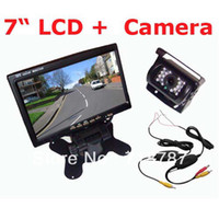 "Car Camera   7"" LCD Monitor Car Rear View Kit + Wireless 18 IR LED IR Reversing Camera waterproof Free Shipping"