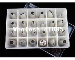 Wholesale 24 Icing Nozzles Pastry Tips Cakes Decorating clear stainless steel box packing hot sale freeshippin